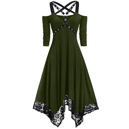 URIBAKY Damen Punk Gothic Mit Gürtel,Halloween Karnevalskostüme Rockabilly Elegant Frauen Bandage Faltenkleid Swing Kleider Asymmetrischer Hepburn Kleider