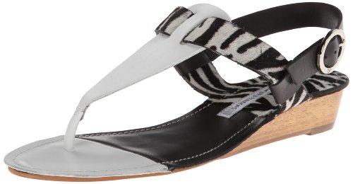 Diane von Furstenberg Women's Darling Dress Sandal,White Vacchetta/Zebra Haircalf/ Black Vacchetta,8 M US