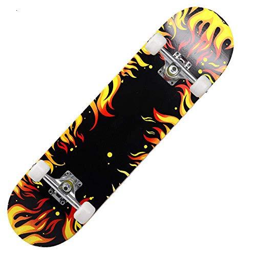 Asdfax Skateboard débutant Monopatín Completo de Doble pie, Apto para Principiantes, niños, Adolescentes y Adultos, 31 Pulgadas-UN