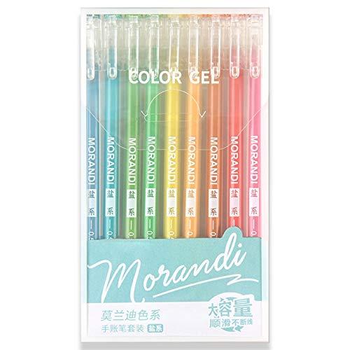 YUSHU 9 Piezas Morandi Gris Multicolor Tinta de Gel bolígrafos Vintage rotulador delineador 0,5 mm para Escribir, Hacer garabatos, Llevar un Diario