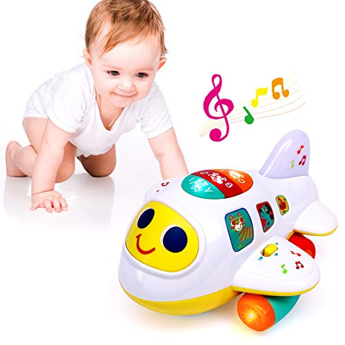 Baby Toys for 1 Year Old Boys Girls Airplane Light-Up Toys Music Baby Learning Educational Toy for Kids Toddlers Bump and Go Airplane Baby Boy Toys for 1 2 3 4 Year Old Gift Travel Toys for Toddlers