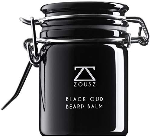ZOUSZ Black Oud Luxus-Bartbalsam - Klassische Haut- & Bartpflege-Butter für Männer mit Holzduft - Avocado-, Argan- & Macadamiaöl - Feuchtigkeitscreme, Conditioner & Schuppenentferner - 50g