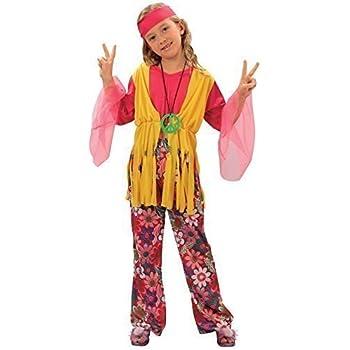Bristol Novelty Traje Niña Hippie (L) Edad aprox 7-9 años: Amazon ...