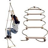 MelkTemn Escala de Cuerda, 5 Pasos Escaleras de Cuerda con fijación, Madera/Escalera Escalera Madera Niños de Madera Escalada Columpio Deportes