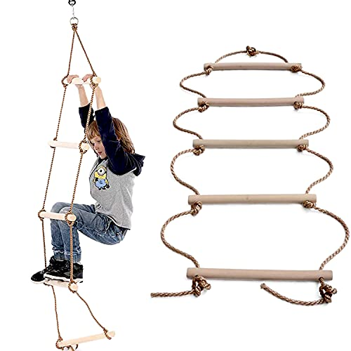 MelkTemn Escala de Cuerda, 5 Pasos Escaleras de Cuerda con fijación, Madera Escalera Escalera Madera Niños de Madera Escalada Columpio Deportes