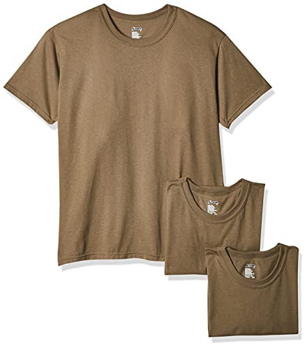 Soffe Men's 3 Pack - USA Poly/Cotton Military Tee, Tan, Small