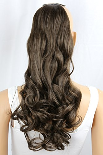 PRETTYSHOP 50cm Haarteil Zopf Pferdeschwanz Haarverlängerung Gewellt Braun HC7-1