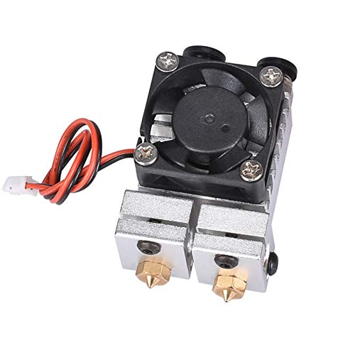 for 3D for Chimera for Hotend for Kit Dual Color 2 in 2 Out Extruder Multi-Extrusion All Metal V6 Dual Extruder 0.4mm/1.75mm 3D Printer Parts (Color : Silver, Size : 24V)