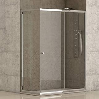 Mampara de ducha angular 2 hojas fijas + 2 hojas correderas con cristal transparente templado de seguridad de 4mm modelo Bricodomo Catalonia 80x120 (Adaptable 79-80cm a 119-120cm)