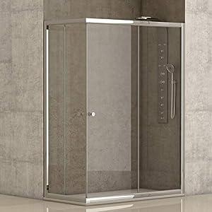 Mampara de ducha angular 2 hojas fijas + 2 hojas correderas con cristal transparente templado de seguridad de 4mm modelo Bricodomo Catalonia 80x100 (Adaptable 79-80cm a 99-100cm)