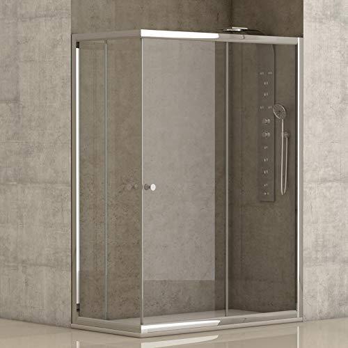 Mampara de ducha angular 2 hojas fijas + 2 hojas correderas con cristal transparente templado de seguridad de 4mm modelo...