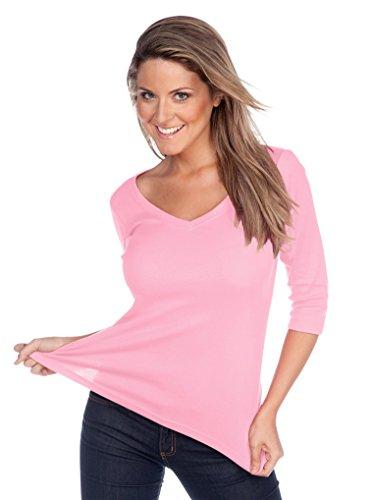 Kavio! Women V Neck 3/4 Sleeve Top Baby Pink L