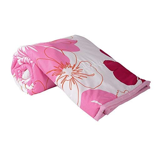 Shopbite Single Bed Ac Blanket Dohar/Quilt Pink Flowers, Fabric - Micro Cotton, Size -54X84 Inches - Multi Color