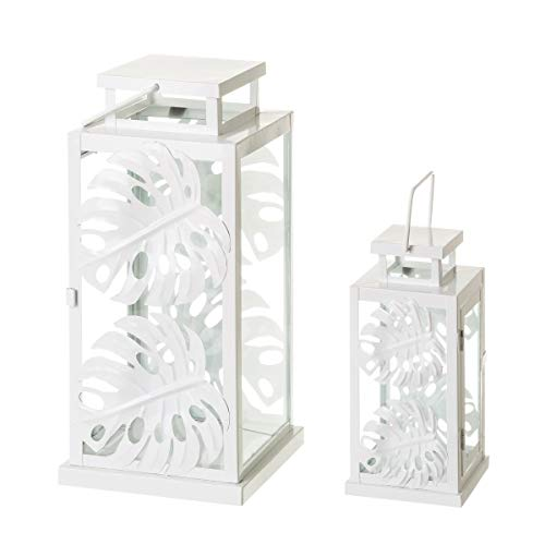 LOLAhome Set de 2 faroles de Hojas Blanco de Metal