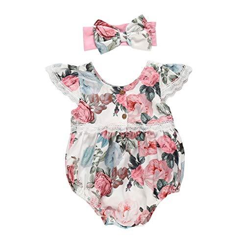 Kobay Kleinkind Kind Baby Mädchen Blumendruck One Pieces Strampler + Stirnband Mädchen Sommer Blumendruck Heiligenschein + Stirnband (0-2Y)