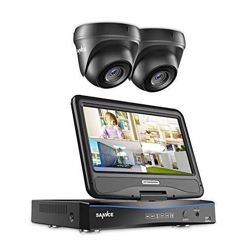 SANNCE Videoüberwachung Überwachungskamera Set mit 10,1 Zoll Display 4CH 1080N all in one DVR Recorder Überwachungssystem mit 2 Kameras 1080P für innen und außen Bereich ohne Festplatte