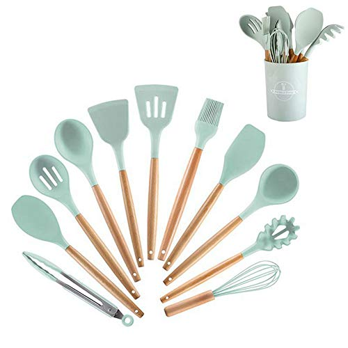 Silicone kitchen cookware set, with stand, 12 kitchen wooden handle cookware, BPA free, non-stick cookware, heat-resistant cookware set, Mint Green