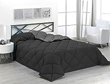 Sabanalia - Edredón nórdico de 400 g reversible (bicolor), para cama de 135/150 cm, color negro y gris