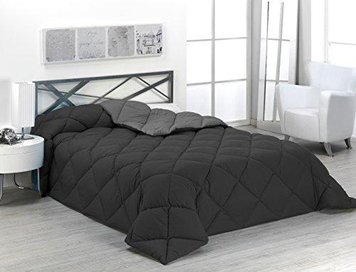 Sabanalia - Edredón nórdico de 400 g reversible (bicolor), para cama de 135/150 cm, color gris y negro