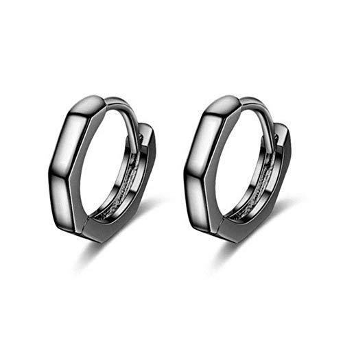 Pendiente pequeño de plata esterlina para prevenir alergias para mujer, pareja de boda, joyería de moda hecha a mano geométrica y geométrica-VES6095