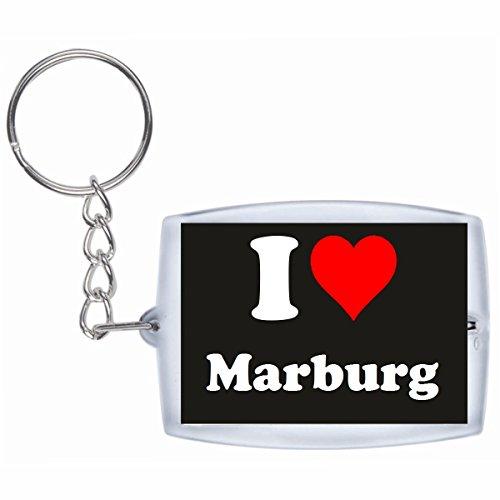 Druckerlebnis24 Schlüsselanhänger I Love Marburg in Schwarz - Exclusiver Geschenktipp zu Weihnachten Jahrestag Geburtstag Lieblingsmensch