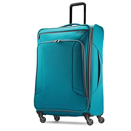 American Tourister 4 Kix Expandable Softside Luggage with Spinner Wheels, Teal, Checked-Large 28-Inch