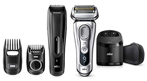 Price comparison product image Rechargeable Beard Trimmer and a Braun series 9 9370cc Wet & Dry shaver with Clean & Charge system and travel case,  silver