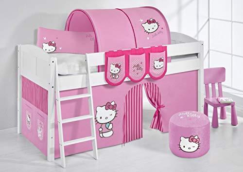 Lilokids Spielbett IDA 4106 Kitty Teilbares Systemhochbett weiß-mit Vorhang Kinderbett, Holz, Hello kittty rosa, 208 x 98 x 113 cm