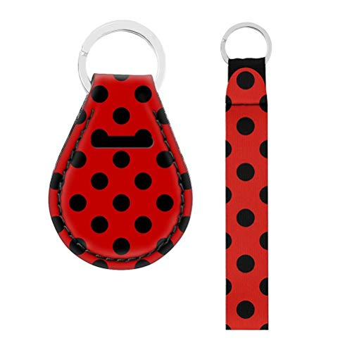 NDISTIN Car Keys Tags Red Black Wave Point Key Chain Ring Grip Strap Fit Key Chain, Camera, Cell Mobile Phone, Charms, Wallet Lightweight Women Best Gift Office Product Durable Wristlet Keychain 2pcs