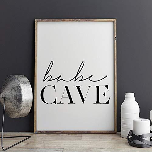 Baby Hole Kindergarten Wall Art Canvas Painting Escandinavo Blanco y negro Tipografía Poster Print Dormitorio Decoración del hogar Sin marco Pintura de la lona A54 40x60cm