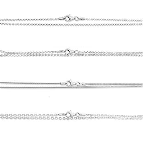 Silberkette Damen 925 Silber 38cm 42cm 45cm 50cm 60cm 70cm Kette ohne Anhänger Sterling Silber Kugelkette Erbsenkette Ankerkette Schlangenkette Einzelne...