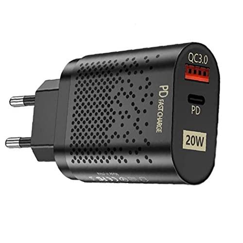 QC3 0 Cargador rápido 20W Adaptador de Corriente USB C PD Enchufe de Pared Cargador con los Puertos duales de Accesorios de telefonía móvil Cargadores de teléfono móvil Negro
