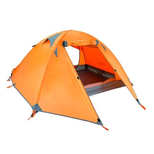 Azarxis Tienda de Campaña 1/2 / 3 Ligera Impermeable 3/4 Estaciones Carpa para mochilear Acampar Senderismo (Naranja - 3 Personas)