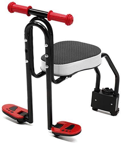 AIRUYI Front Moun Kids Bike Ass Asiento para niños Plegable para niños con reposabrazos y Pedal para niños de 2 a 7 años (Color : Black)