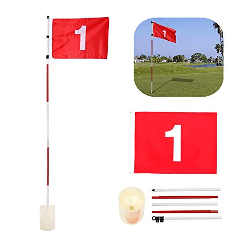 Leezo Putting Green Fahnen Golf Flagsticks Praxis Loch Cup mit Flagge Golf Pin Flags für Standard-Golfplatz, Praxis Putting Red Flagstick, tragbare Golf Pin Flags