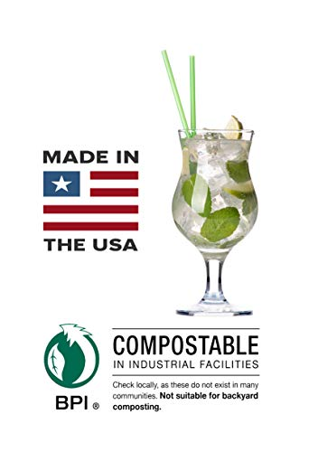 Compostable Drinking Straws, Paper Wrapped: 500ct: Made in USA: (Green, Jumbo, 7.75