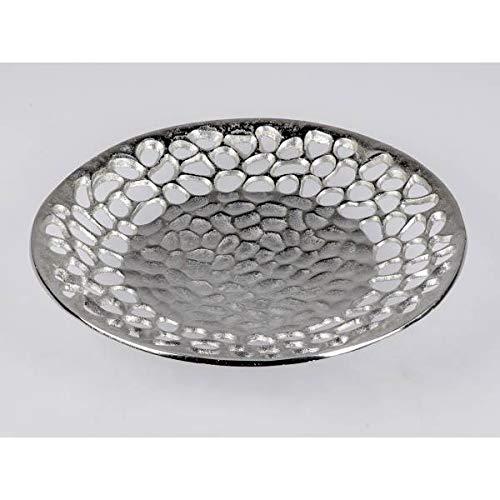 formano Deko Schale, Teller ALU Koralle D. 39cm Silber Aluminium Metall