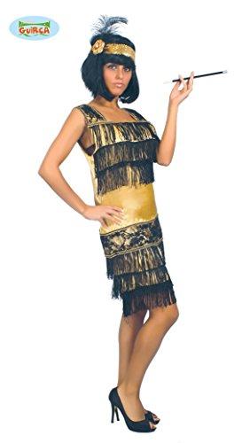 goldenes Charleston Kleid Karneval 20er Jahre Party Kostüm Fransen Damen Gr.M - L, Größe:M