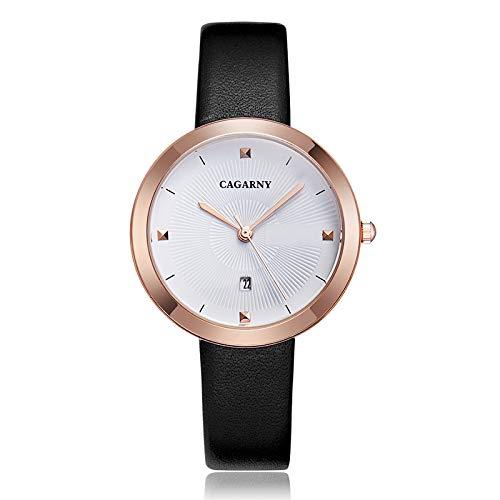 BZN Smart Watch Case 6871 Fashion Life - Reloj de cuarzo con correa de acero y carcasa dorada (color: negro y blanco)