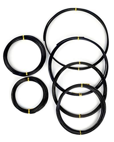 MoHern Bonsai Wire, 6 Sizes of 1mm, 1.5mm, 2mm, 2.5mm, 3mm, 4mm Black Aluminum Wire, Total 152 Feet Bonsai Tool Kit, 300 Grams Bonsai Tree Wire for Bonzai Trees Indoor