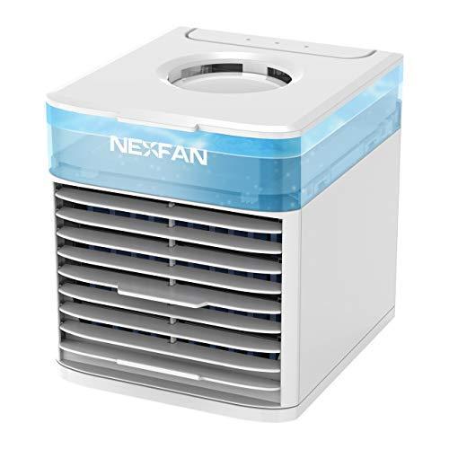 Enfriador de aire portátil NexFan - Enfriador de aire evaporativo Ventilador de enfriamiento personal - Ventilador de aire acondicionado personal USB con 3 velocidades y 7 luces nocturnas para el hogar, la oficina y la habitación (Blanco)