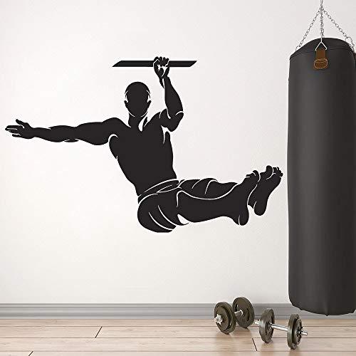 Tianpengyuanshuai Gymnastik Wandtattoo Fitness Übung Sport Vinyl Aufkleber Fitnessstudio Trainingsraum Dekoration Kunst 68X43cm