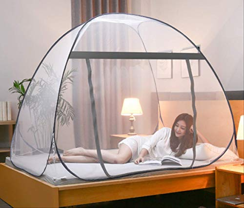 Mosquito net for Bed Yurt Mosquito Net Moustiquaire Net for Single Double Bed Mosquitera Canopy Netting Bed Tent Home Outdoor 1.8m (6 feet) Bed Grey Full Bottom