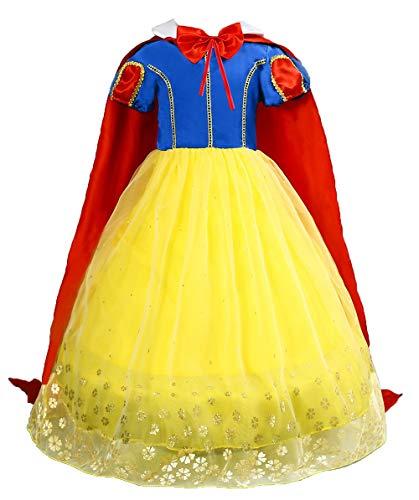 Le SSara Ragazze Principessa Neve Bianco Costume Fantasia Fata vestirsi Abito Cosplay con Mantellina (130, E57-yellow)