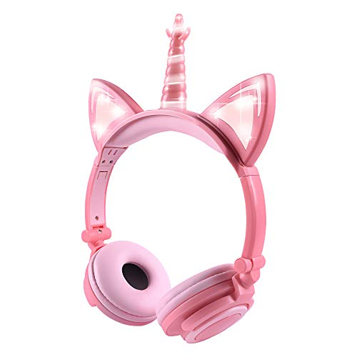 Unicorn Kids Cat Ear Headphones LED Light Up Earphone Wired Adjustable Kids Headband Earphone Foldable Over On Ear Game Headset for iPad Tablet Home School (Unicorn-Peach)