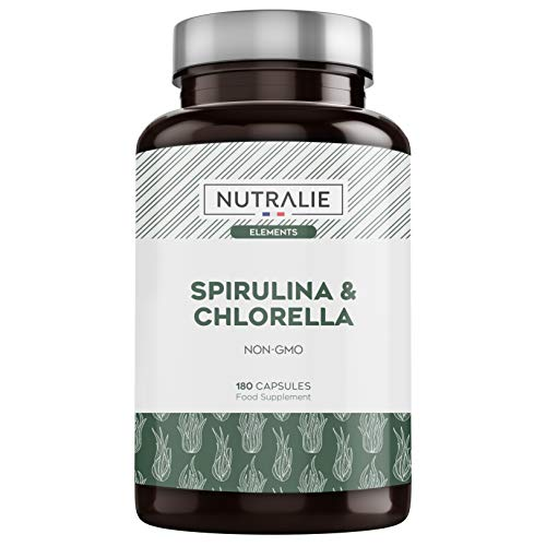 Spirulina & Chlorella 1800mg | Afeitrun áhrif, orka, styrkur og metta | Superfood ríkur í próteinum og vítamínum 180 hylki 100% vegan | Nutralie