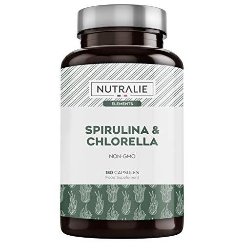 Spirulina & Chlorella 1800mg | Entgiftung, Energie, Kraft & Sättigungseffekt | Superaliment reich an Proteinen & Vitaminen | 180 Kapseln 100% Vegan | Nutralie