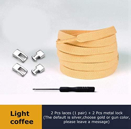 LLAAIT Schnürsenkel Elastisch 1 Sekunde Schnellkreuzschnalle Metallschloss Flacher Schnürsenkel Geeignet für alle Arten von Schuhen Lazy Laces Unisex, Leichter Kaffee, Spanien