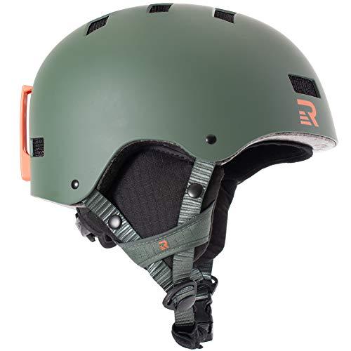 Retrospec Traverse H1 Ski & Snowboard Helmet, Convertible to Bike/Skate, Matte Forest Green, Large (59-63cm)