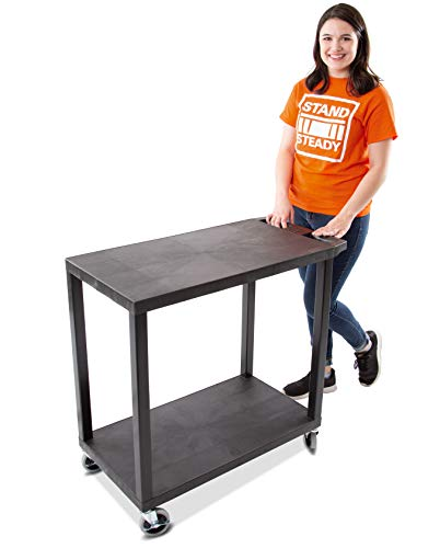 Stand Steady Original Tubstr - Flat Top Utility Cart - Heavy Duty, Supports up to 400 lbs - Flat Shelf Multipurpose Cart Perfect for Home, Garage, Catering, Warehouse and More (2 Shelf / 35x18)